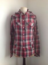 Mens VOI JEANS red/black/grey check hooded shirt, size S