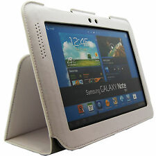 White Leather Folio Stand Case Cover Samsung Galaxy Note 10.1 inch N8000 N8010
