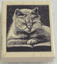 KITTY CAT READING A BOOK WEARING GLASSES WOOD MOUNTED RUBBER STAMP