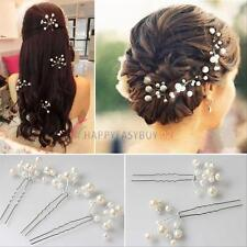 6Pcs Wedding Bridal bridesmaid Rhinestone Pearl Flower Headpiece Hair Pin Clips