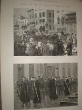 King Victor Emmanuel II of Italy funeral Procession Rome 1878 print ref Y1