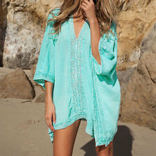 New Women's Loose Beach Cover Up Swimsuit Bathing Suit Cotton Casual Dress