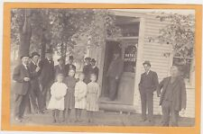 Real Photo Postcard RPPC - Children & Men in Front of Hotel Office Fall Creek WI