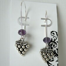 Grapes Wine Vineyard Theme Earrings with Purple Crystals on Long Kidney Wires