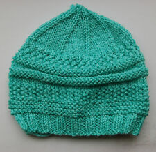 Hand knitted Baby Hat - Aqua Blue 3-6 months