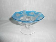 Blue Cut to Clear Crystal Glass Compote Low Bowl Pedestal Dish Bohemian Czech