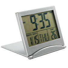 Large Screen Digital LCD Alarm  Temp Calendar Timer Desk Snooze Foldable Clock