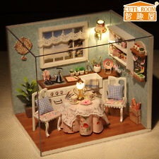 New Dollhouse Miniature DIY Kit with Cover and LED Wood Toy dolls house room