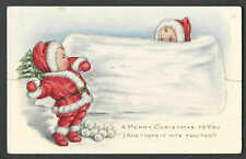 PPC A101* VINTAGE XMAS GREETING W/CHILDREN W/CUTOUT TO STAND UP UNPOSTED