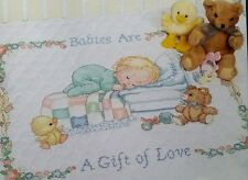 Baby Stamped Cross Stitch  Quilt Kit Babies are a Gift Of Love 13094 Bear Duck