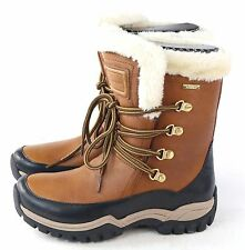 Rockport Womens Finna Fur Waterproof Snow Boot Brown Wheat Leather Size 5 M