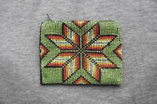 Beaded Coin Purse Leaf Aztec Design Multi Colored Brand New Zipper Clutch Style