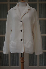 New Lands End Fleece Blazer Size XL 20 Ivory Jacket Cardigan