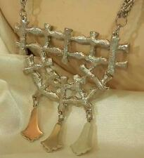 Very Cool Vintage 70's Lucky Bamboo Silver Tone Statement Necklace 307AG6