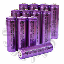12 x AA LR6 UM3 3000mAh Ni-MH Rechargeable Battery Purple Cell 2A