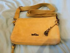 Kipling Nubuck Leather Cross Body Bag Clutch Premium Handbag Mustard Yellow