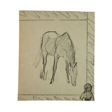 Old Pen and Ink Horse Grazing Sketch Drawing