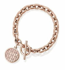 NWT MICHAEL KORS Rose Gold Logo Charm Pave Crystal Chain Toggle Bracelet MKJ5366