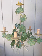 VTG Italian Tole Metal GRAPE LEAVES Leaf Chandelier Shabby Chic Vineyard Wine