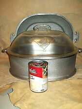 VINTAGE 1950s GUARDIAN SERVICE LARGE OVAL ROASTER GLASS LID + TRAY DUTCH OVEN