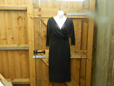 """""""BRAND NEW BY ESSENTIAL STYLE"""" CLASSIC BLACK CROSSOVER KNEE LENGTH DRESS SIZE 12"""