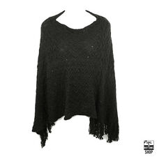 New Women's Knit Winter Sequin Poncho Fringe Sweater One Size