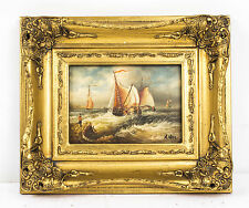 Oil Painting of  Sailling Ships Near the Seashore Giltwood Frame