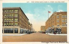 BILLINGS MT 1926 First Avenue North from 27th Street Old Cars & Stores VINTAGE