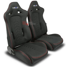 NRG FABRIC CANVAS+RED STITCHES RECLINABLE SPORT RACING SEATS+ADJUSTABLE SLIDERS