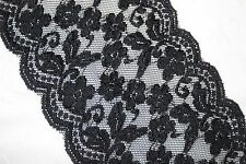 "1 yard Black galloon sheer floral textured DIY stretch lingerie lace 6"" wide"