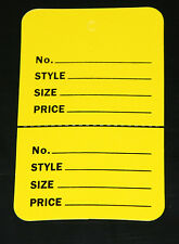 """300 YELLOW 2.75""""x1.75"""" Large Perforated Unstrung Price Consignment Store Tags"""