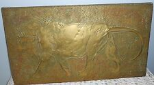 Antique Brass Rubbing On Wood Panel Lion Great Patina 16 x 9 Bas Relief Folk Art