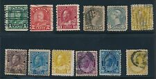 1876 - 1931 Canada (12) DIFFERENT EARLY ISSUES AS SHOWN; USED & SOUND; CV $105