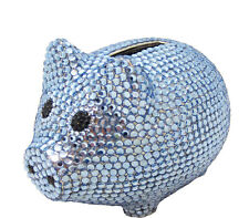 Blue Crystal Metal Coin Piggy Bank w/ Swarovski Crystals - It's A Boy Baby Gift