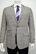 Men's Windowpane Gray Wool Blend Blazer SIZE 52L NEW