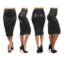 WOMENS WET LOOK FAUX LEATHER PENCIL BODYCON HIGH WAISTED SKIRT DRESS SKATER MINI