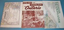VINTAGE NAT. GEO. CANADA MAPS & 1960 CAMP SITES AND ROADSIDE PARKS IN ONTARIO