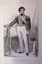 AMIRAL BARON DUPERRE LA ROCHELLE PORTRAIT ETAT DES SERVICES GRAVURE 1839