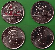 2009 Canada Women's Hockey 25 Cents Colored & Plain Issue From Mint Rolls