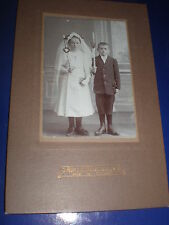 Old Cabinet photograph communion boy girl Georgswalde Germany c1900s Ref 508(5)