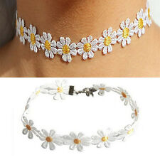 Pop Women Daisy Choker Chain Necklace Lace Yellow White Flowers Boho Necklace