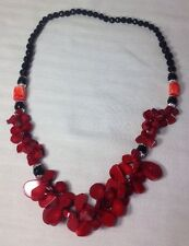 Beautiful Vintage Endless Red Coral Black Onyx Beaded Necklace~Very Unique!