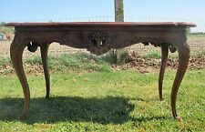 Vintage Antique Hand Carved Wooden Coffee Side Table Louis Philippe Style