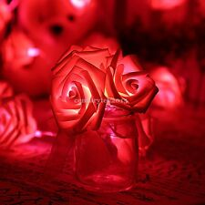 20 LED Rose Flowers Fairy String Lights Wedding Party Room Indoor Outdoor Decor