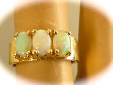 VINTAGE SOLID 14K YELLOW GOLD LADIES BAND RING NATURAL MINED AUSTRALIAN OPAL