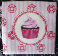 "Lot 3 serviettes en papier ""Mini cupcake rose"" (Paper Napkins)"