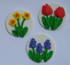 12 edible SPRING FLOWERS DISC  tulip DAFFODIL cake topper decoration WEDDING