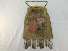 VINTAGE MICRO GLASS STEEL BEADED PURSE FLORAL DESIGN FRINGED BRASS FRAME CHAIN