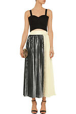 NWT Sachin Babi Noir Pleated Metallic Maxi Skirt Size 4 MSRP $695 Sold Out!!!