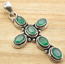 Flashy GREEN ONYX 6 Gemset Oxidized Cross Pendant 2 inches ! Silver Plated Gift